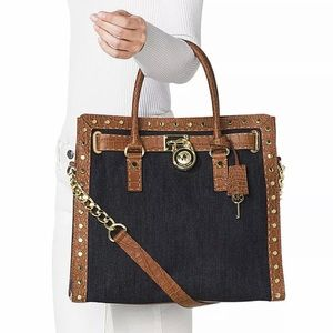 Michael Kors Denim Hamilton Studded Bag Tote